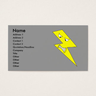 Angry Lightning. Yellow on Gray. Business Card