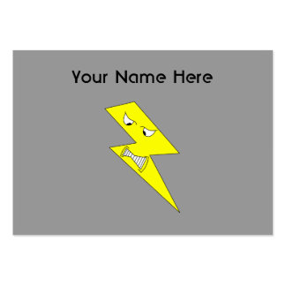 Angry Lightning. Yellow on Gray. Large Business Card