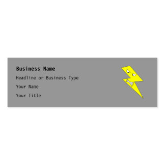 Angry Lightning. Yellow on Gray. Mini Business Card