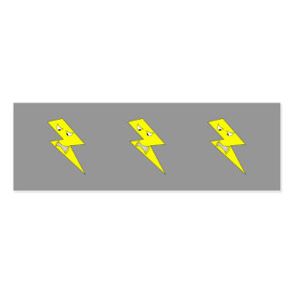 Angry Lightning. Yellow on Gray. Mini Business Card