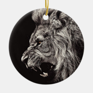 Angry Male Lion Ceramic Ornament