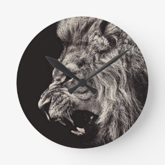 Angry Male Lion Round Clock