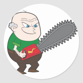 Angry man with chainsaw cartoon round sticker