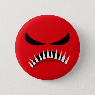 Angry Monster With Evil Eyes and Sharp Teeth Red 2 Inch Round Button