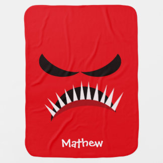 Angry Monster With Evil Eyes and Sharp Teeth Red Baby Blanket