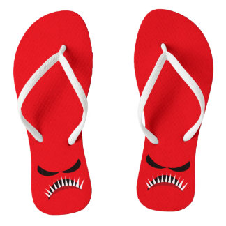 Angry Monster With Evil Eyes and Sharp Teeth Red Flip Flops