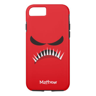 Angry Monster With Evil Eyes and Sharp Teeth Red iPhone 8/7 Case