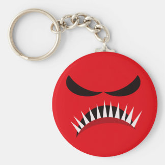 Angry Monster With Evil Eyes and Sharp Teeth Red Keychain
