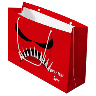 Angry Monster With Evil Eyes and Sharp Teeth Red Large Gift Bag