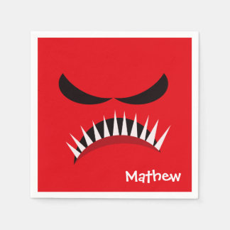Angry Monster With Evil Eyes and Sharp Teeth Red Paper Napkin