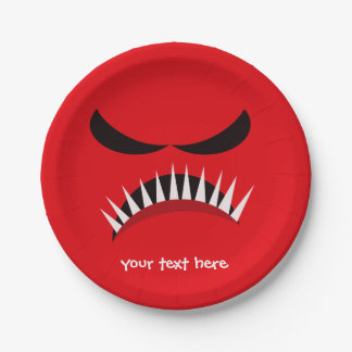 Angry Monster With Evil Eyes and Sharp Teeth Red Paper Plate