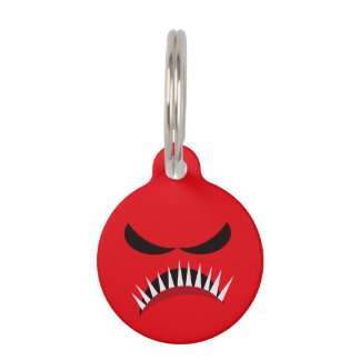 Angry Monster With Evil Eyes and Sharp Teeth Red Pet Name Tag
