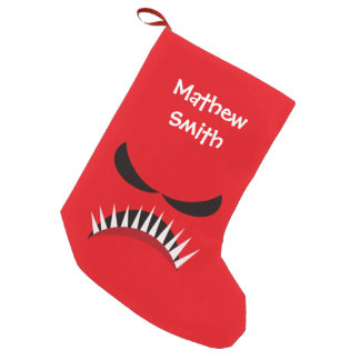 Angry Monster With Evil Eyes and Sharp Teeth Red Small Christmas Stocking