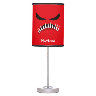 Angry Monster With Evil Eyes and Sharp Teeth Red Table Lamp