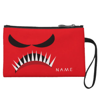 Angry Monster With Evil Eyes and Sharp Teeth Red Wristlet Clutch