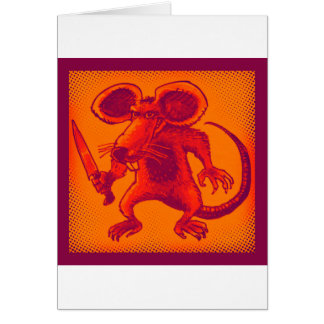 angry mouse holds knife funny cartoon card