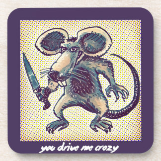 angry mouse holds knife funny cartoon drink coaster