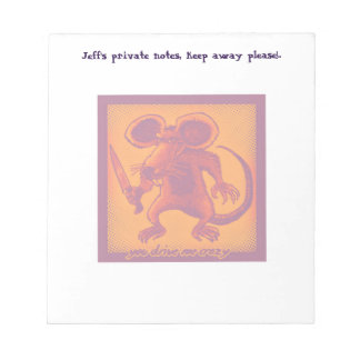 angry mouse holds knife funny cartoon notepad