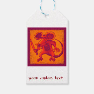angry mouse holds knife funny cartoon pack of gift tags
