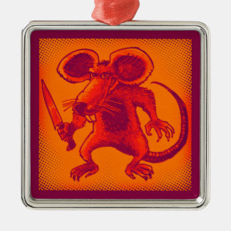 angry mouse holds knife funny cartoon Silver-Colored square ornament