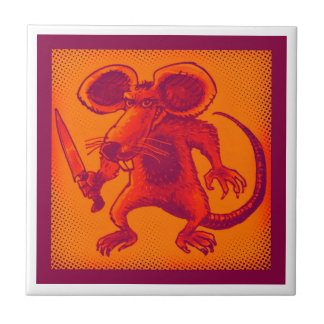 angry mouse holds knife funny cartoon tile