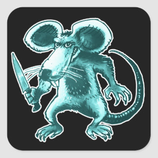angry mouse with knife funny cartoon square sticker