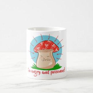angry mushroom funny cartoon coffee mug