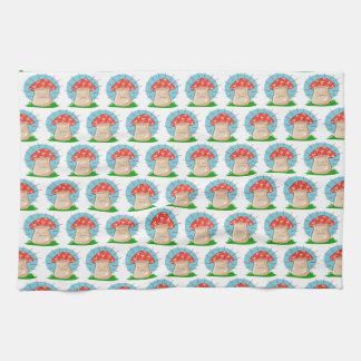 angry mushroom funny cartoon kitchen towel