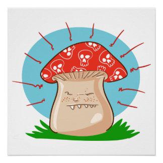 angry mushroom funny cartoon poster