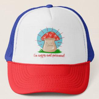 angry mushroom funny cartoon trucker hat