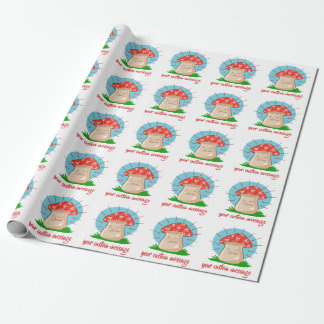 angry mushroom funny cartoon wrapping paper