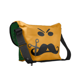 Angry Mustache Smiley custom messenger bag