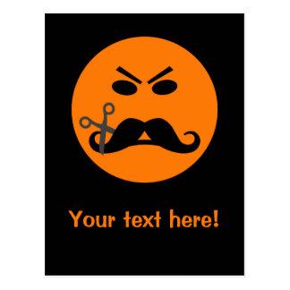 Angry Mustache Smiley custom postcard