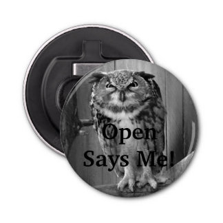 Angry Owl- Open Says Me! Button Bottle Opener