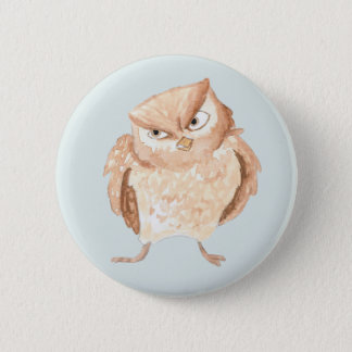 Angry Owl Watercolor 2 Inch Round Button