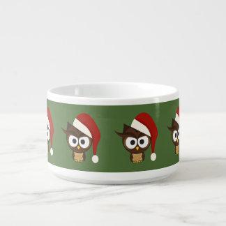 Angry Owl wearing Santa Hat Chili Bowl