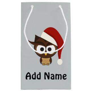 Angry Owl wearing Santa Hat Small Gift Bag