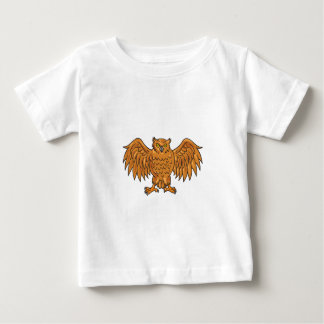 Angry Owl Wings Spread Drawing Baby T-Shirt