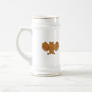 Angry Owl Wings Spread Drawing Beer Stein
