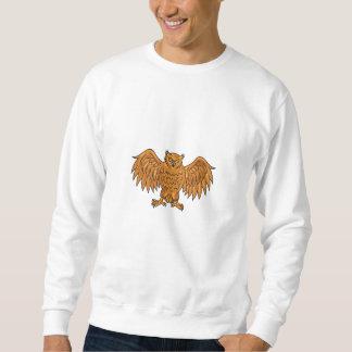 Angry Owl Wings Spread Drawing Sweatshirt