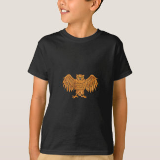 Angry Owl Wings Spread Drawing T-Shirt