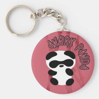 Angry Panda Basic Round Button Keychain