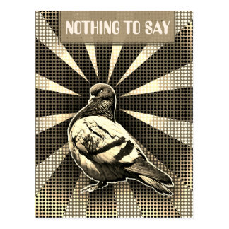 Angry Pigeon Postcard in has sepia vintage style