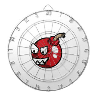 Angry Pink Cartoon Bomb Dartboard With Darts