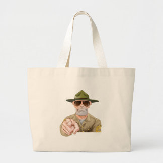 Angry Pointing Drill Sergeant Large Tote Bag