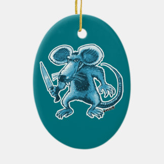 angry rat with knife blue contour ceramic oval ornament