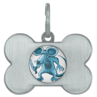 angry rat with knife blue contour pet tag