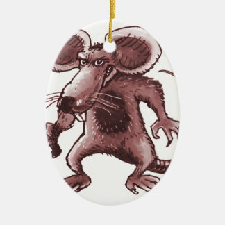 angry rat with knife sepia ceramic oval ornament
