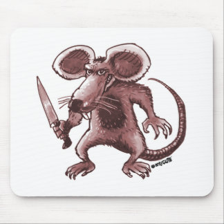 angry rat with knife sepia mouse pad