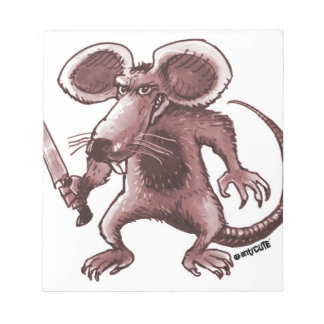 angry rat with knife sepia notepad